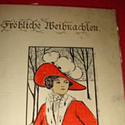 "European/German ""Frohliche Weihnachten"" Beautiful Lady in Red With White Fur Muff, C"