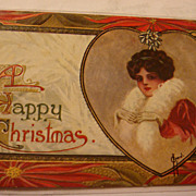 SALE Early Embossed Christmas Postcard Lady in Red, White Fur, Gloves, Heart, Mistletoe, Poins