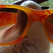 SALE Groovy Vintage Sunglasses Marbled Golden Yellow & Red Lucite Illinois Estate