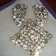 SALE Vintage Weiss Crystal Demi Parure Brooch Earrings 3 Dimensional