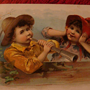 SALE Oversized 1893 Advertising Greeting Card LION COFFEE Knapp Co., Woolson Spice Children