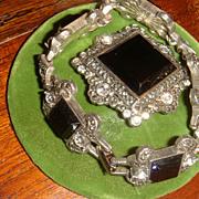 SALE Demi-Parure Monet Art Deco Style Bracelet & Brooch Glass or Enamel & Crystal Rhin