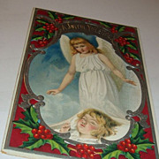 SALE A Most Beautiful 1909 Christmas Postcard Little Guardian Angel Watches Over Rosy Cheek Gi