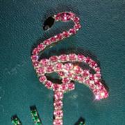 Prong Set Figural Pink Flamingo Pin/Brooch All Prong Set Rhinestones!