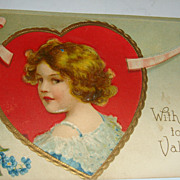 SALE 1910 Embossed Valentine Postcard Adorable Girl in Gold Gilt Framed Red Heart Int. Art Pub