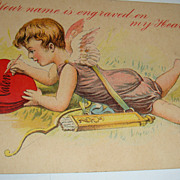 SALE 1912 Valentine Postcard Cupid With Bow & Arrows Engraves Hearts