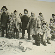 SALE Great Black & White Postcard With Alaskan Eskimos & Husky/Huskie  Puppies Lower Yukon RPP