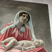 SALE Christmas Gel Real Photo Postcard Made in Saxony Mother & Baby