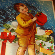 SALE Signed Ellen Clapsaddle Christmas Embossed Postcard Berlin, Young Boy with Hat Boxes and