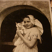 SOLD Beautiful Little Girl & Her Cat European Real Picture Photo Postcard