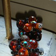 SALE VENDOME Vintage Earrings, Topaz or Cognac, Amber & Black Crystal Glass Beads Silvertone E