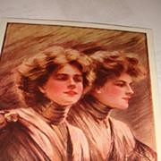 Artist Signed 'Anticipating' Philip Boileau 1907 Postcard Twin Ladies