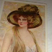 1910 Artist Signed 'In Maiden Meditation' Philip Boileau Beautiful Women Postcards Large Hat P