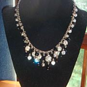 SALE Demi-Parure Black Glass Beads, Rhinestones, Rondelles, Necklace & Bib Chandelier Earrings