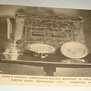 St. John's Church Communion Silver, Brought to VA, 1619 Vestry Book, Postcard Interesting Info