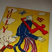 SOLD 1907 Artist Signed 4th of July Whimsical Uncle Sam Patriotic Postcard Firecrackers