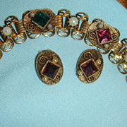 SALE Victorian Etruscan Revival Bracelet, Earrings, Filigree, Book Chain Emerald, Amethyst, Se