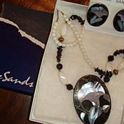 SALE NIB Vintage Lee Sands 1970's Inlay Mother of Pearl Necklace Pierced Earrings