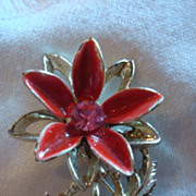 Enameled Rhinestone Poinsettia Christmas Flower Pin Brooch Dimensional
