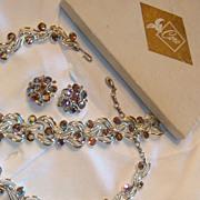 SALE Vintage Demi Parure / Set Coro Pegasus Gift Box Blue Aurora Borealis