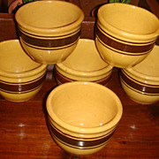 SALE 6 Near Mint Yellowware Large Custard Bowls 3 Chocolate Brown Stripes 1 Wide