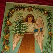 SOLD Victorian Colors Christmas Gel Postcard Angel, Bells, Pine Cones, Tree
