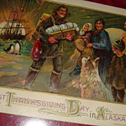 SALE First Thanksgiving Day in Alaska 1868 Embossed Postcard, Indians, Dog, Ship