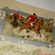 SALE 1912 John Winsch Christmas Postcard Hunt Scene Jockeys, Horses, Dogs Silver Gilt
