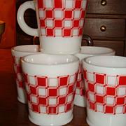 SALE Colorful Checkerboard Hazel Atlas Mug (s) Rolled Base 5 Available Purina