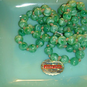 "SALE 41"" Vintage Flapper  Necklace Art Glass Beads Skillfully Knotted Jadite Green Peking"