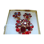 SALE BEAU JEWELS 1950's Domed Red Aurora Borealis Brooch & Earrings
