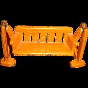 SALE Kilgore Cast Iron Dollhouse Cast Iron Swing Glider 1920's-30's Orange Chippy Paint Toys T