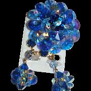 SALE Austrian Crystals Blue Rivoli Aurora Borealis Brooch Dangle Earrings