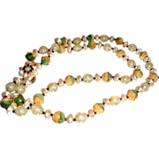 SALE Vintage Celluloid, Plastic, Lucite Double Strand Necklace Flower Clasp Hong Kong