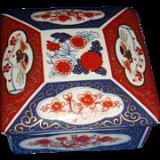 SALE Asahi Japan Porcelain Trinket Box Dish With 3 Main Amari Colors