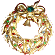 SALE Satin Gold Toned Christmas Wreath Pin Brooch With Bell, Bow, Leaves, Ornaments