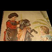 SALE Schultz's Star Soap Trade Card Dog, Victorian Girls, Bird, Ball, Early Card