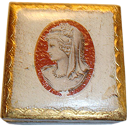 """SOLD Small Florentine Cameo Trinket Jewel Box Gold Gilt Made in Italy 2 7/8"""""""