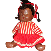 SALE Pouty Black Child Composition Doll Painted Features Jointed, lllinois Estate