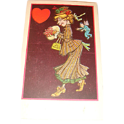 SALE Early Whimsical Valentine's Day Postcard Cupid Butterfly Wings Fairy Dust