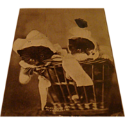 SALE 1902 Real Picture Postcard Cats With Bonnets in Basket Twin Babies C.E. Dullar