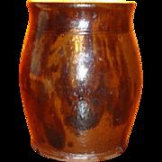 Early Redware Ovoid Jar With Black Manganese Decoration Indiana Estate