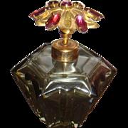 SALE Western Germany Jeweled Lid Smoky Grey Vintage Glass Perfume Bottle Holm Spray
