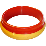 SALE Orbit Style Bakelite Laminated Bracelet Bit 'O Honey and Red
