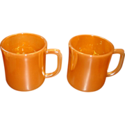 SALE 2 Child Size Fire King Peach Lustre Cups Mugs Shiny Inside and Out