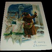 SOLD Early 1900's German Santa Postcard Brown Hooded Robe With Lantern, White Reindeer Embosse