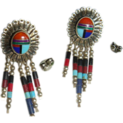 Native American Southwest Inlay Inlaid Pierced Earrings QT Sterling Dangle Beads