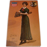 SALE Early 1900's Embossed State of Illinois Postcard Lady Holding a Train, Patriotic Symbols