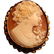SALE 1930's Gold Filled Marked Carved Shell Cameo High Relief Pendant Brooch