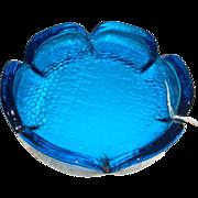 SALE Electric Blue Daisy Shaped Pebble Glass Ashtray